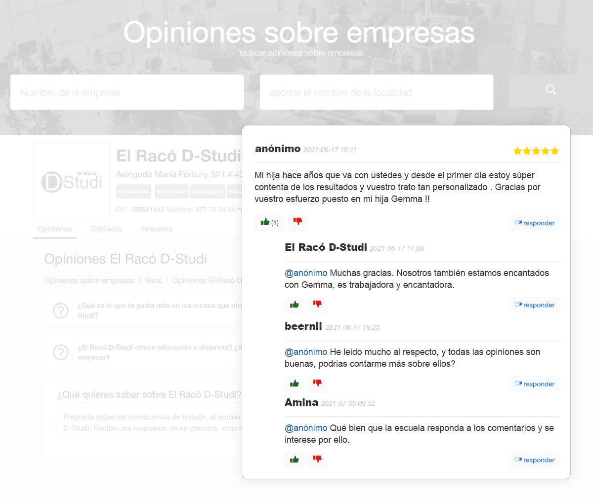 responder a las opiniones en Internet